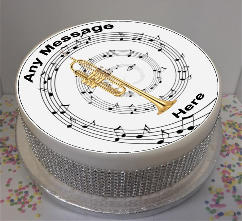 Personalised Trumpet /& Music Notes 8 Icing Sheet Cake Topper