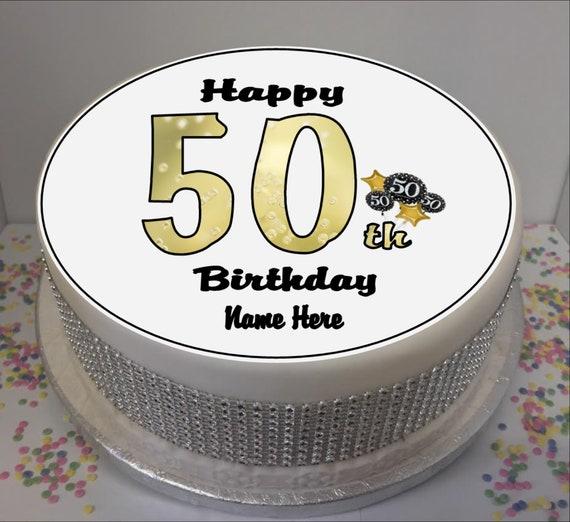 Pleasing Personalised 50Th Birthday Black Gold 8 Icing Sheet Etsy Funny Birthday Cards Online Alyptdamsfinfo