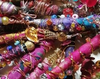 Handmade Boho hippy, gypsy,silk, tube glass journal beads. Sari ethnic beads, charms, bohemian, colourful bright, ooak , jewellery bag charm