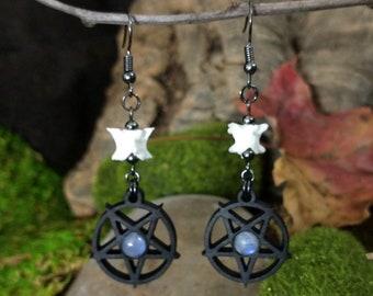 Snake Bone Earrings, Moonstone Jewelry, Snake Vertebrae, Taxidermy and Curiosities, Oddity Gift, Pentagram with Crystal