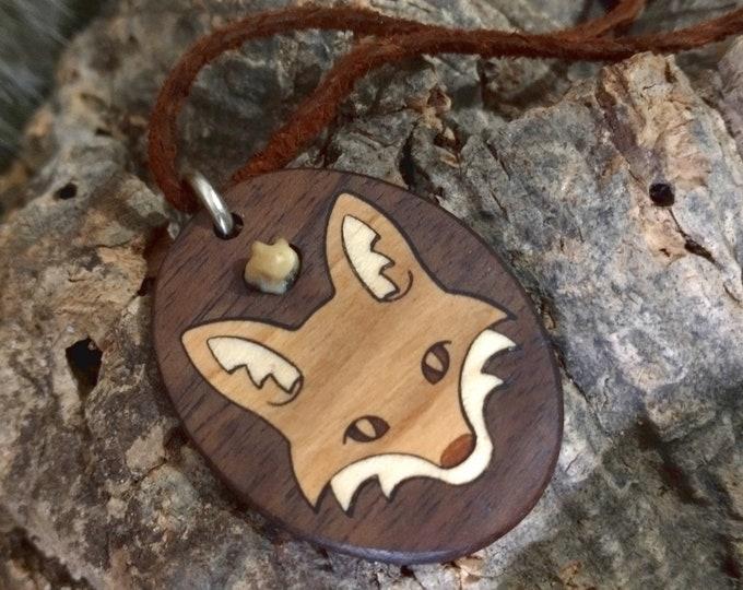 Wooden Fox Pendant