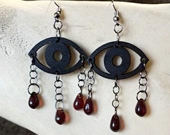 Crying Eyes Drop Earrings, Bohemia Crystal Earrings, Czech Glass Bead Earrings