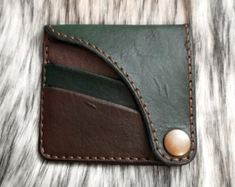 Handcrafted Leather Wallet, Handmade Wallet, Goblincore, Goblin Core Accessory, Cardholder Wallet, Rustic Style Wallet, Dyed Leather