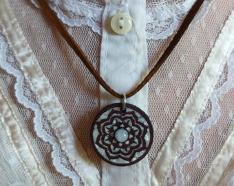 Lotus Mother of Pearl Purple Heart Necklace