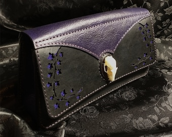 Gothic Bat Bag, Leather Clutch Purse, Purple and Black, Evening Bag Handle, Bat Skull Real, One of a Kind, Bone Handle, Free Shipping US