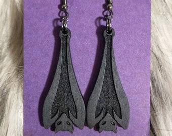 Black Hanging Bat Earrings