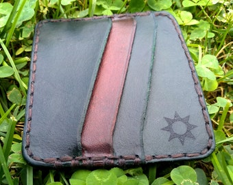 Minimalist Leather Wallet, Slim Card Wallet, The Hobgoblin, Hand Crafted Leather Card Holder, Goblincore Aesthetic