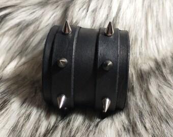 Premium Leather Spike Cuff