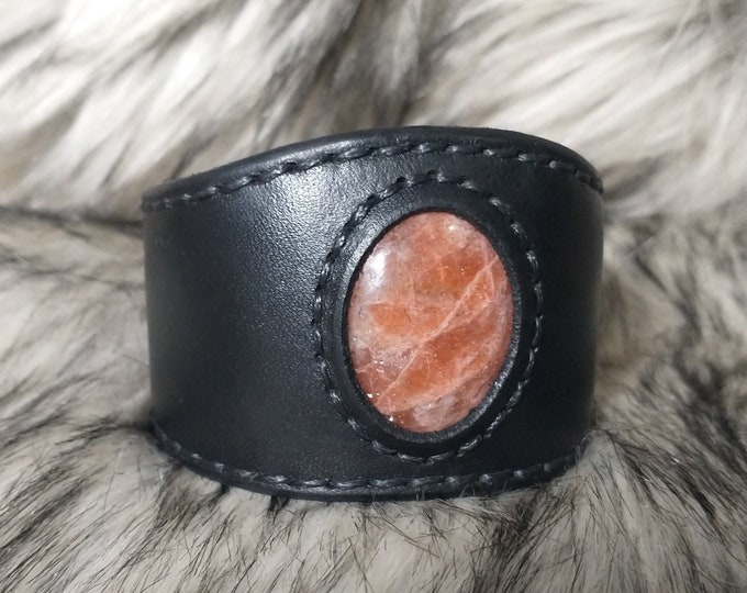 Sunstone Leather Cuff Bracelet