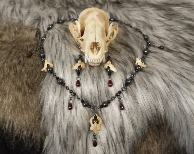 Raccoon Vertebrae and Hematite Necklace and Earring Set