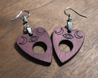 Purple Heart Planchette Earrings