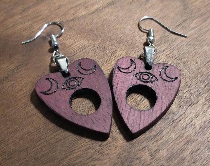 Purple Heart Planchette Earrings