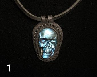 Skull Labradorite Leather Pendant