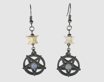 Pentacle Earrings with Snake Vertebrae and Moonstone Cabochons