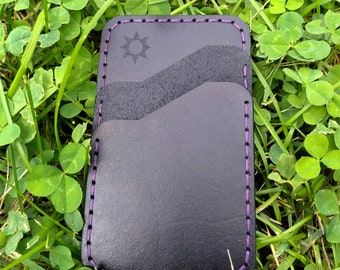 Card Holder Wallet, High Quality Leather Wallet, Minimalist Wallet, Black and Purple, Handmade Leather Wallet