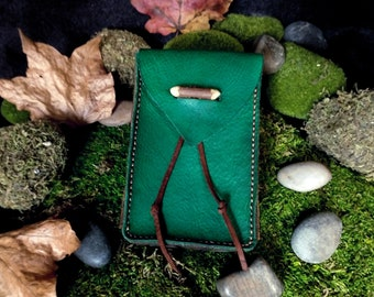 Leather Tarot Case, Tarot Card Holder, Green Leather Bag, High Quality Leather