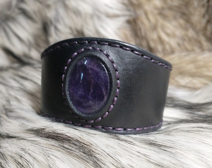 Amethyst Leather Cuff Bracelet