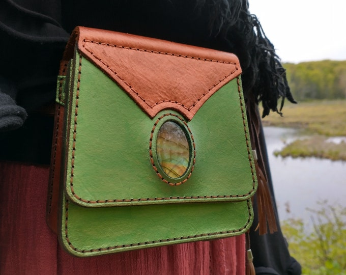 Leather & Labradorite Adventure Pouch