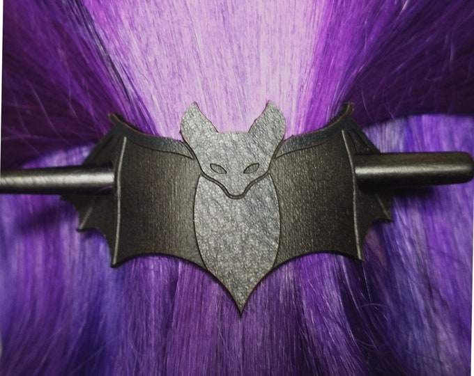 Leather Bat Hair Slide