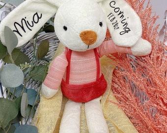 Personalized Dolls for Boys, Soft Plush Boy Doll, Baby Kids Newborn Nursery Decor Boy, Stuffed Red Bunny Toy, Handmade Rabbit Bunny Doll