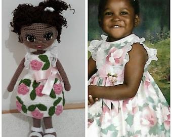 Look Alike Doll Amigurumi Mini Me Portrait Doll Cotton Yarn Knitted Custom Baby Doll Reborn Doll Personalized Crochet Doll USA Handmade Doll