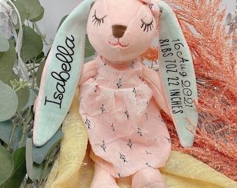 Personalized Dolls for Girls, Soft Plush Girl Doll, Baby Kids Newborn Nursery Decor Girl, Stuffed Pink Bunny Toy, Handmade Rabbit Bunny Doll