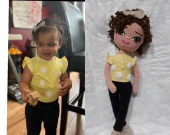 Look Alike Doll Amigurumi Mini Me Portrait Doll Custom Baby Doll Cotton Yarn Knitted Reborn Doll Personalized Crochet Doll USA Handmade Doll