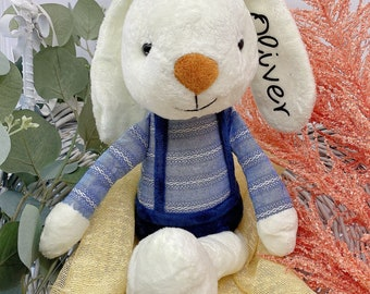 Personalized Dolls for Boys, Soft Plush Boy Doll, Baby Kids Newborn Nursery Decor Boy, Stuffed Blue Bunny Toy, Handmade Rabbit Bunny Doll
