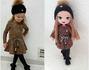 Look Alike Doll Amigurumi Mini Me Cotton Yarn Knitted Custom Baby Doll Crochet Doll Portrait Doll Reborn Doll Personalized USA Handmade Doll