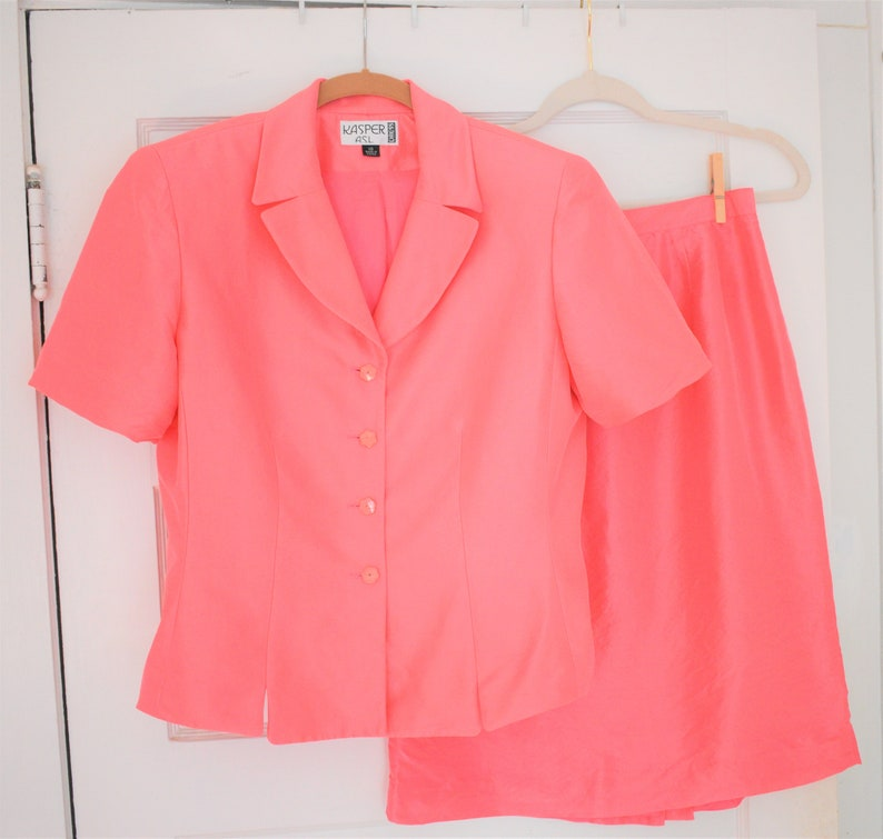 Kasper Vintage Silk Pink Women/'s Suit