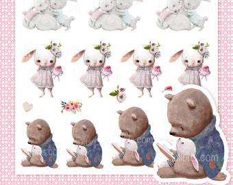 Bunny and Friends Cute Stickers - Lillbits Creations - Animals - bunnies
