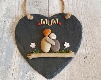 Best Mum Slate Heart mother/'s day gift pebble art