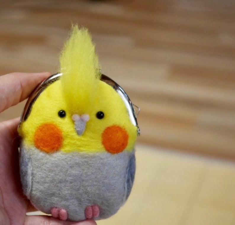 Cockatiel felting purseCoin purseCockatiel  Birds purseMothers giftBirthday giftBirds felted