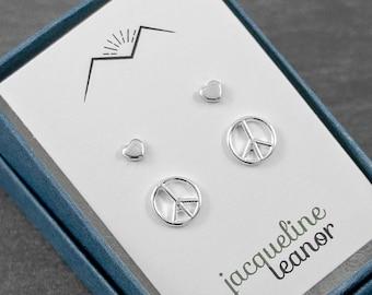Peace Sign & Heart Stud Earrings Set 8mm Sterling Silver Stud Earrings  4mm Dainty Heart Stud Earrings, Boho Hippie Earrings