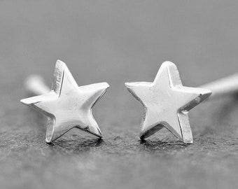 Star Stud Earrings 5mm Sterling Silver Stud Earrings, Dainty Earrings, Celestial Jewelry, New design!!