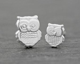 Owl Stud Earrings Set Sterling Silver Stud Earrings 8mm + 6mm, Nature Earrings, Mommy & Me Dainty Earrings, Woodland Creature Jewelry