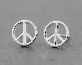 Peace Sign Earrings, Dainty Earrings, Boho Hippie Earrings, Sterling Silver Stud Earrings