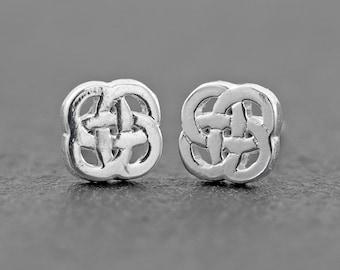 Celtic Shield Knot Stud Earrings, Sterling Silver Stud Earrings, Dainty Earrings, Celtic Jewelry, Irish Knot Earrings  - NEW Design!