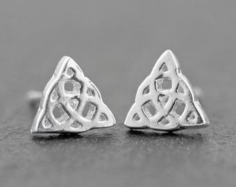 Celtic Trinity Knot Sterling Silver Stud Earrings, Celtic Jewelry, Triquetra Dainty Earrings, NEW design!