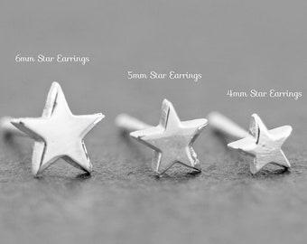 Star Stud Earrings Set 4mm 5mm 6mm Sterling Silver Stud Earrings, Dainty Earrings, Celestial Jewelry, New Design!!