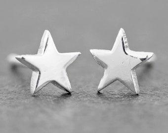 Star Stud Earrings 6mm Sterling Silver Stud Earrings, Dainty Earrings, Celestial Jewelry, New design!!