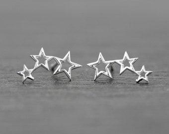 Triple Star Stud Earrings 13mm, Celestial Earrings Sterling Silver Studs, Celestial Jewelry, Shooting Star, Dainty Earrings, NEW DESIGN!