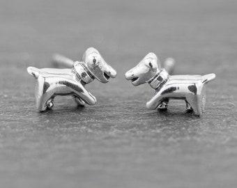 Dog Stud Earrings Sterling Silver Stud Earrings, Animal Jewelry, Tiny Puppy Dainty Earrings