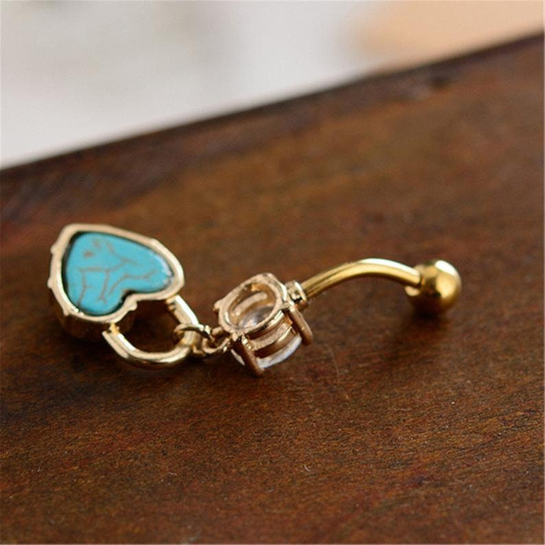 Navel Jewelry Belly ring Piercing,Belly Ring Navel Piercing Ring Turquoise Love lock Belly Button Jewelry,belly ring