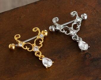CZ Zircon Nipple Shield,Nipple Ring,Nipple Piercing, Nipple Barbell Ring,14g,flower nipple ring