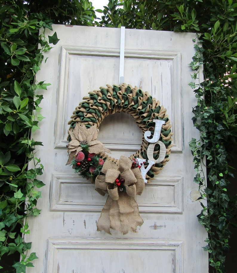 Sparkling Red Berries Glittering Poinsettia Christmas Joy Hunter Green Burlap Wreath with Frosted Pears and Apples and Large Burlap Bow