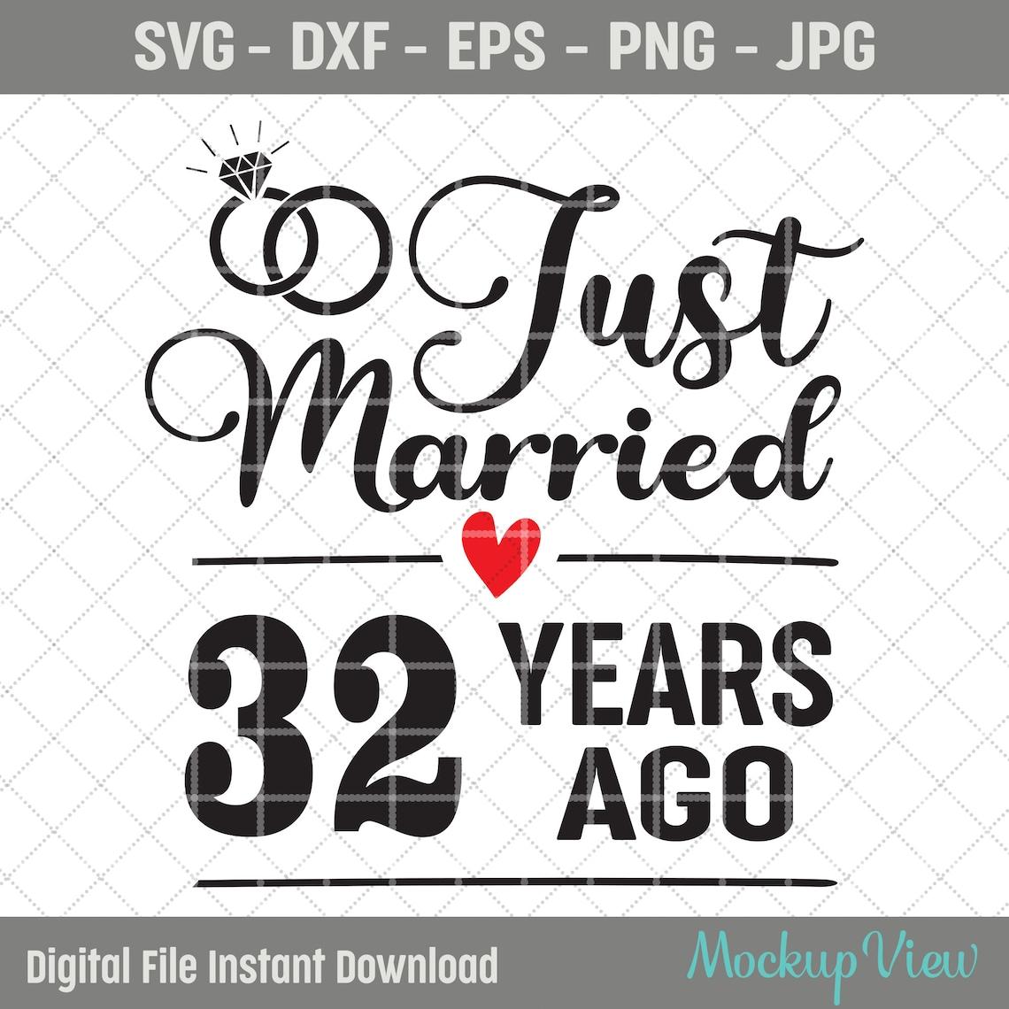 Gerade verheiratet 32 Jahre Vor SVG 32. Hochzeitstag