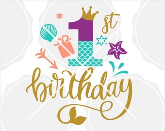 Mermaid SVG Silhouette and Cricut Cut design Mermaid Tail Birthday numbers Birthday Silhouet Bundle Mermaid Birthday Girl 1-9 svg Dxf