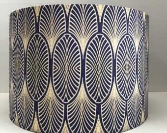 Art Deco style Navy and Gold lampshade  - Fabric  - Handmade -  drum - ceiling pendant or table lamp
