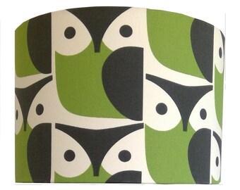 RETRO Handmade Shade /Orla Kiely Owl Chalky Green/ Pendant / Lampshades/ Drum